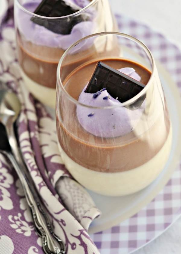 Chocolate, lavender and vanilla bean panna cotta