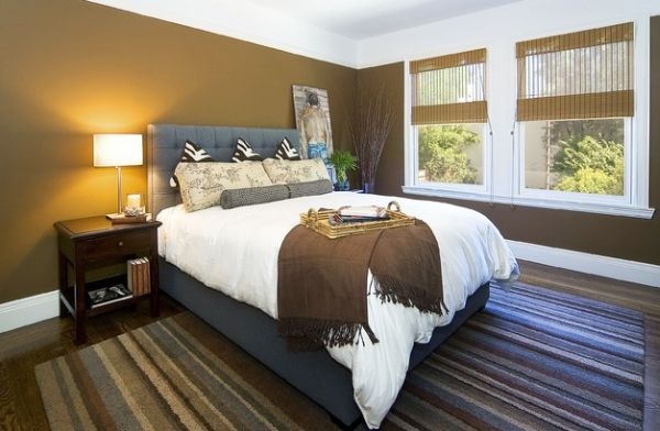 Classy contemporary bedroom embraces bamboo blinds with style!