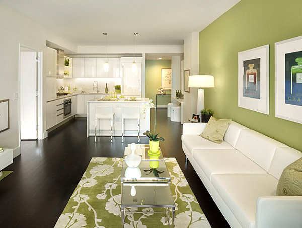 Clean and modern green living room Shades of Green for the Modern Home