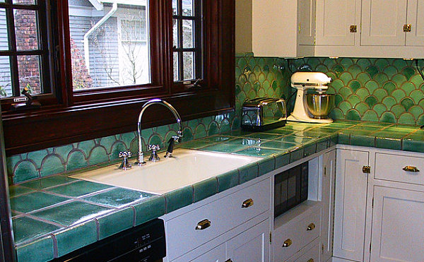 Colorful tile countertops