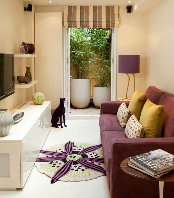 Compact media room employs purple and cream