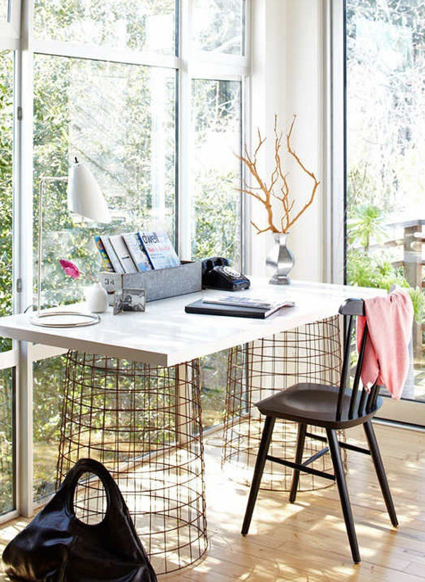 Computer desk with wire basket legs
