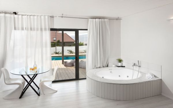 View In Gallery Contemporary Bathroom In White With Matching Drapes And Sliding  Glass Doors