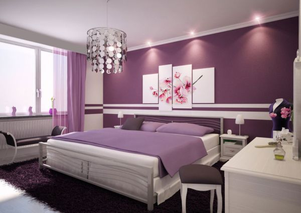 Contemporary bedroom in white with purple accents