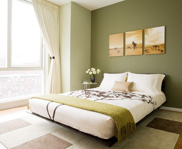 Contemporary bedroom with a floral pattern and green color scheme