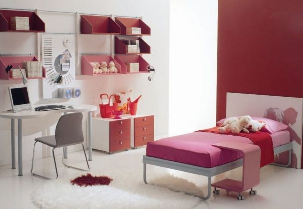 Contemporary girls' bedroom design idea in white, pink and red