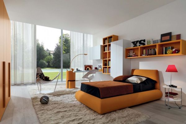 Contemporary kids' bedroom in white and orange