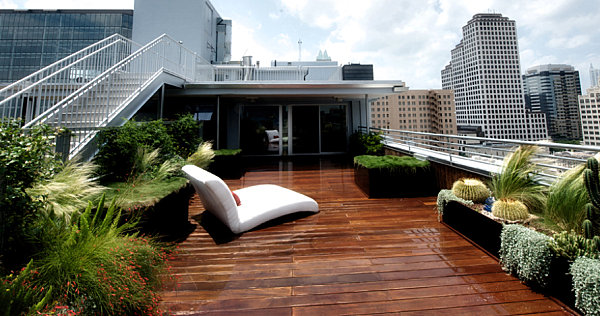 Contemporary seating on an elevated patio