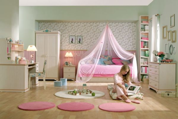 Cool girls' bedroom in pink that is both sophisticated and feminine