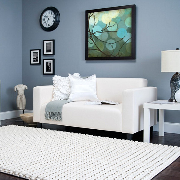 Cream knit area rug