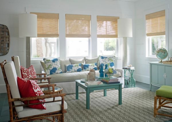 Create the atmosphere of a cool summer retreat with the light and natural tones of bamboo blinds