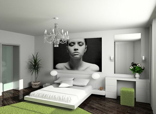 modern bedroom green. View In Gallery Cube Dresser Stool And The Rug Offer Visual Contrast This Clean Bedroom Modern Green