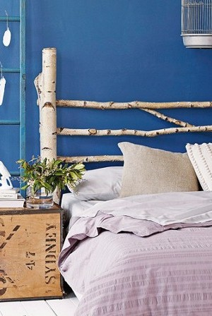 DIY Birch Branch Headboard