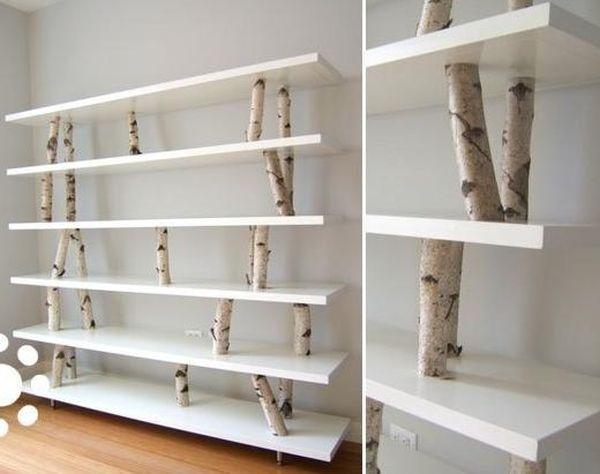 View In Gallery DIY Birch Branch Shelves
