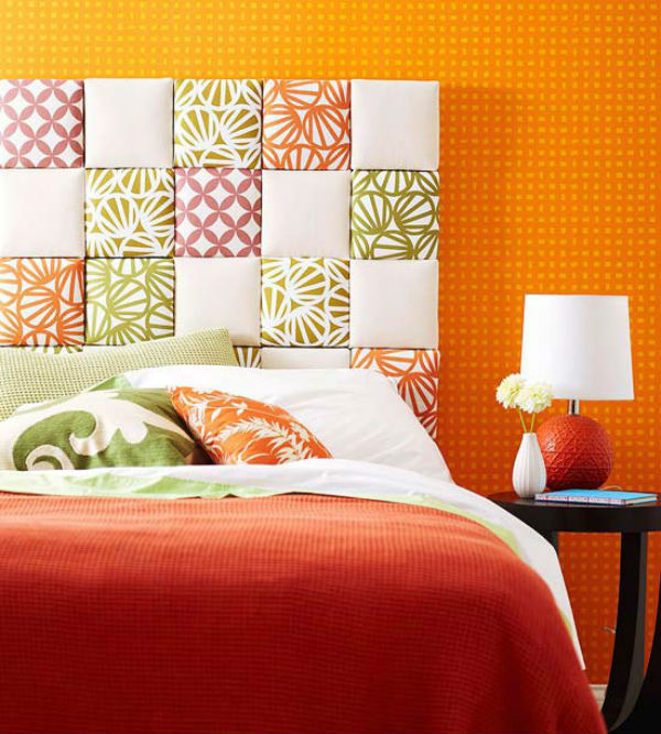 DIY Fabric Squares Headboard