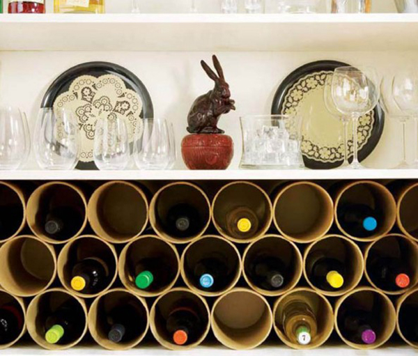 DIY Mailing Tubes Wine Rack