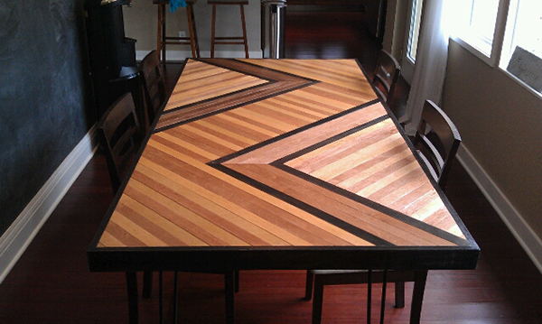 View In Gallery DIY Patterned Plywood Dining Table