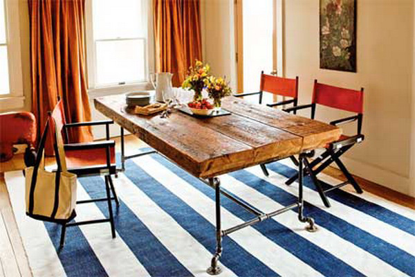 DIY Reclaimed Beam and Gas Pipe Dining Table