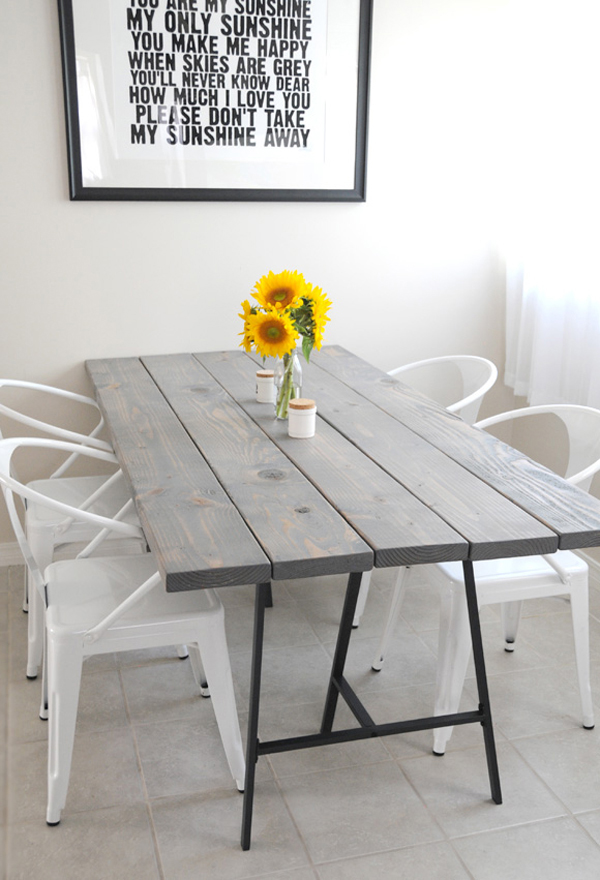 Simple DIY Dining Table With Colorful Legs Home Interior Design