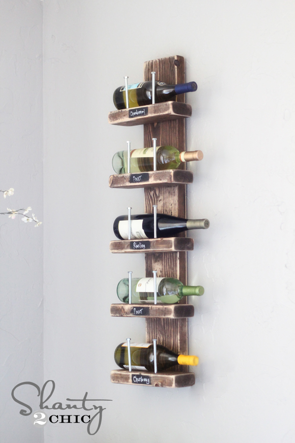 DIY Wood and Hex Bolt Wall Wine Rack