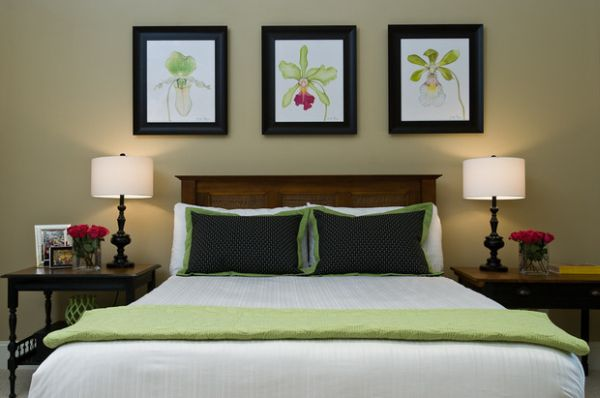 Delicate use of the light green shade in the bedroom. Decorating With Green  52 Modern Interiors to Accentuate Freshness