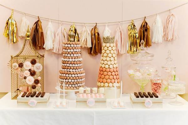Dessert table with a warm glow