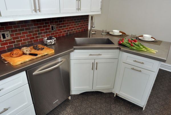 Small Corner Kitchen Sink : Dishwasher right next to the corner sink can be hard to work with at ...