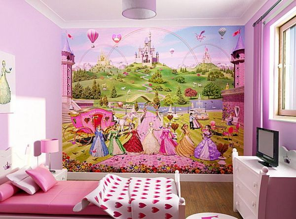 View in gallery Disney princess wallpaper can turn a girls' bedroom in pink  and white into something magical
