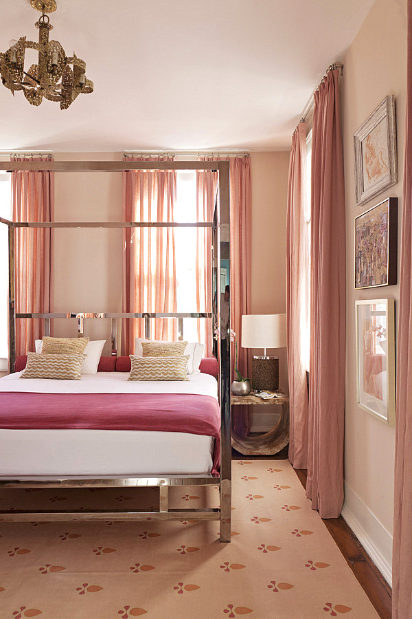 Eclectic bedroom in shades of pink
