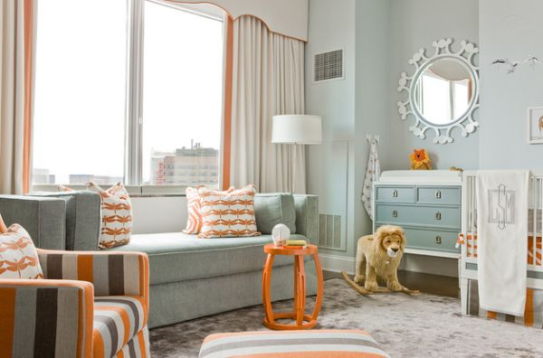 Eclectic kids' room uses orange in a pleasant and stylish fashion