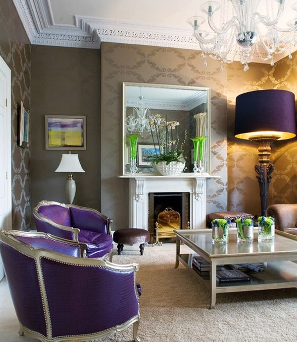 eclectic living room adds purple in a way you simply cannot miss