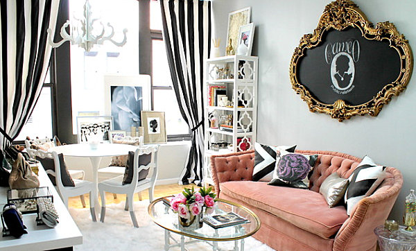 Eclectic living room with feminine details