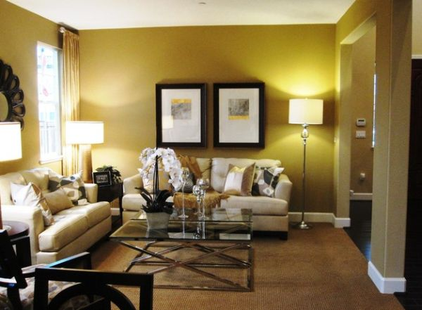 Elegant floor lamp complements the lovely golden hues of these interiors