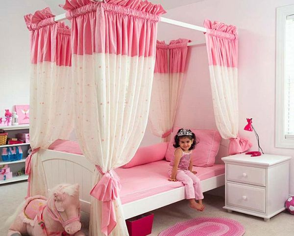Elegant girls' bedroom in pink with princess theme