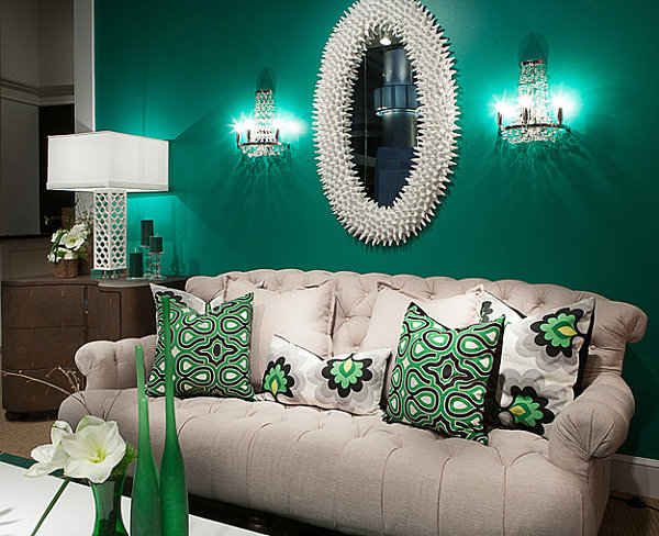 Elegant living room in emerald gree