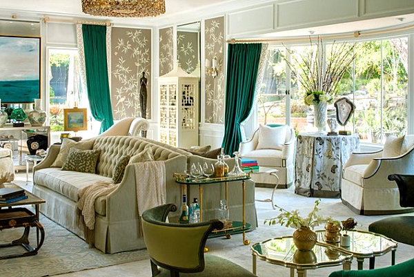 Emerald green curtains in an elegant living room