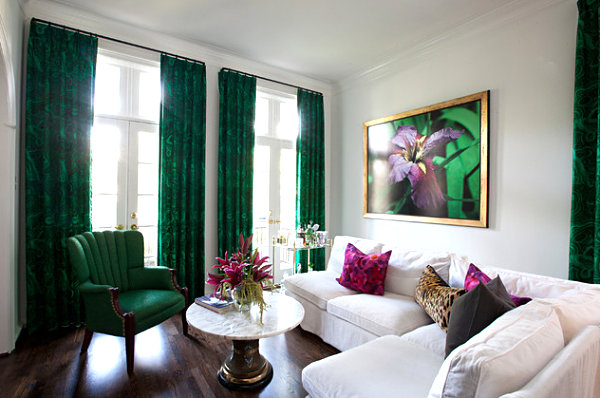 Emerald green living room accents