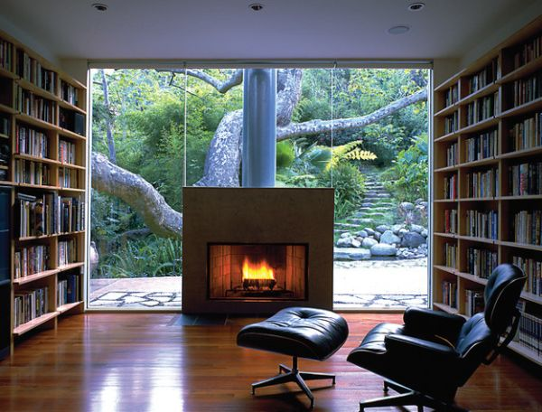 Enjoy a warm and vibrant view as you wind down in the Eames lounge chair