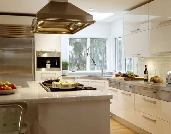Ergonomic contemporary kitchen in white with a stylish corner sink