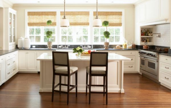 Ergonomic modern kitchen with bamboo blinds