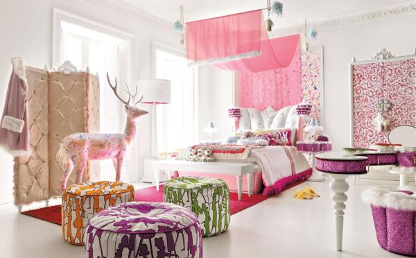 Exqusite pink teen girls' room in pink sports a multitude of plush textures