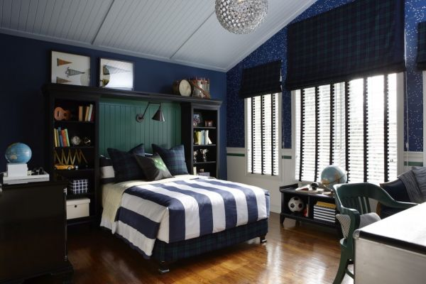 Blue and white teenage bedrooms