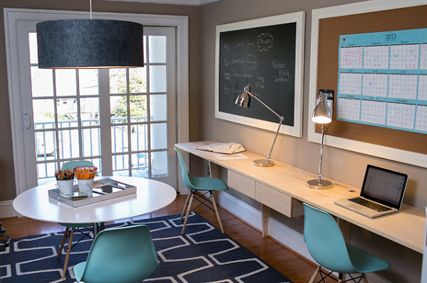 Family home office with retro-style chairs
