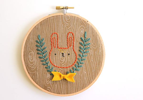 Faux Bois Cross Stitched Rabbit Art