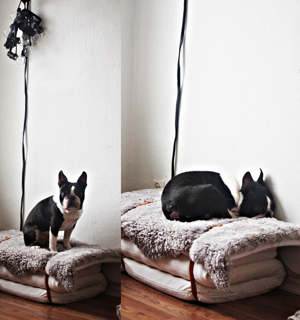 Faux fur stacked dog bed DIY
