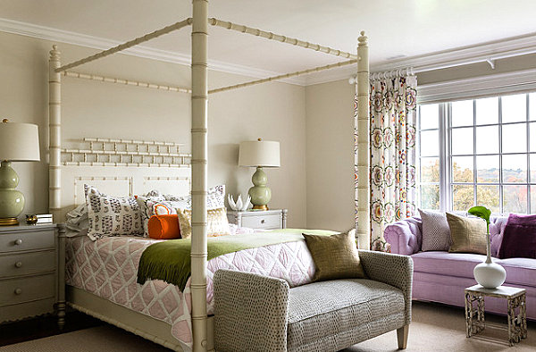 Feminine bedroom with an abundance of textures