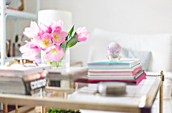 Feminine touches in a bright living room