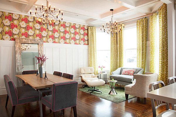Floral wallpaper in a living and dining space