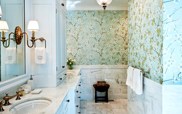 Floral wallpaper in a marble bathroom