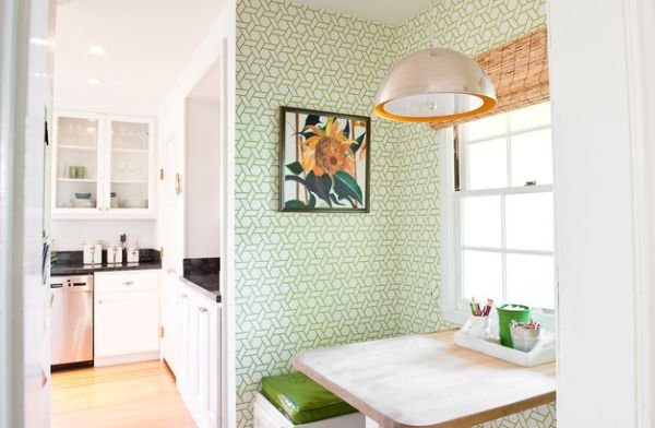 Fresh and colorful kitchen nook looks all the more appealing with wooden shades